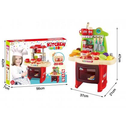 Portable Electronic Music Light Kitchen Cook Kids Toy Kitchen Set