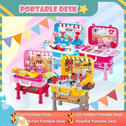 Portable Desk Pretend Game Set Toiletry Kitchen Tool Medical Set Ready Stock