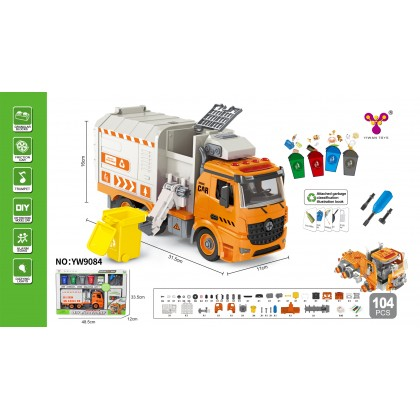 1:12 DIY Assembly Lego Sanitation Truck And Transport Truck Series