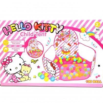 Hello Kitty Child Tent Ball Pool (Bola Kolam) 100 Soft Bubble Balls Pool 3Ages above 5 Colors Balls Pool