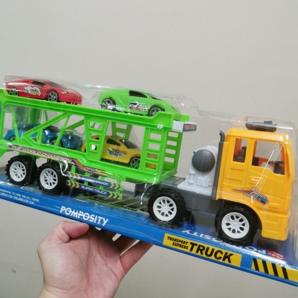 Kids Toy 42CM Long Big Truck Transport Express Truck With 4 Small Sport Cars